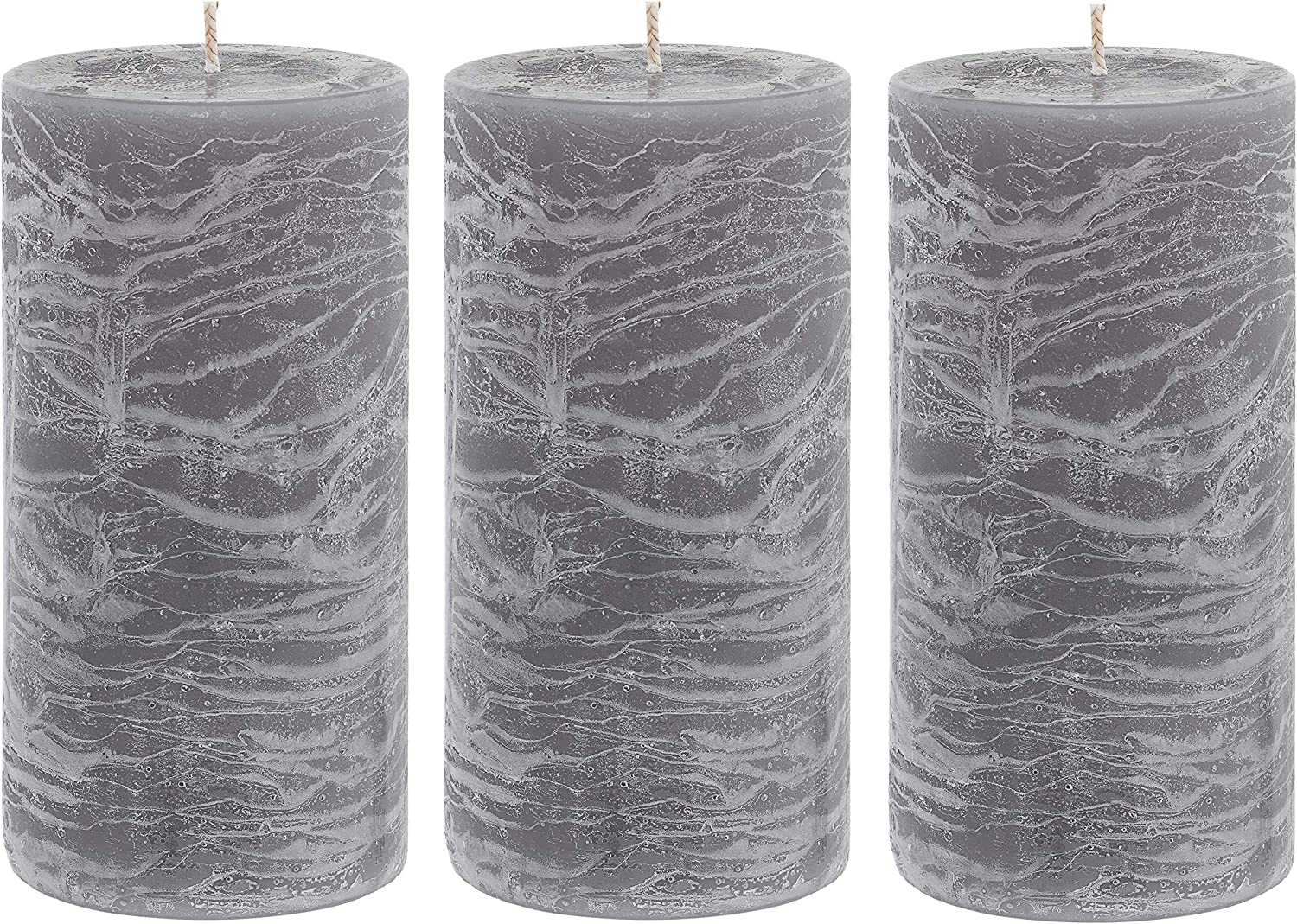 Unscented 3x6 Tall Pillar Candles – Set of 3 Hand Poured Wax Candles | Smokeless, Clean Burning Décor for Home, Weddings, Church, Events | Gray