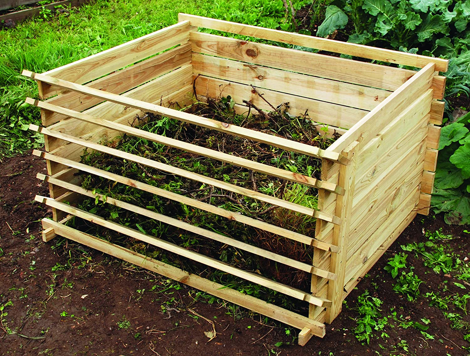 Easy-Load Wooden Compost Bin Composter - Large - 718 Litres: Amazon ...