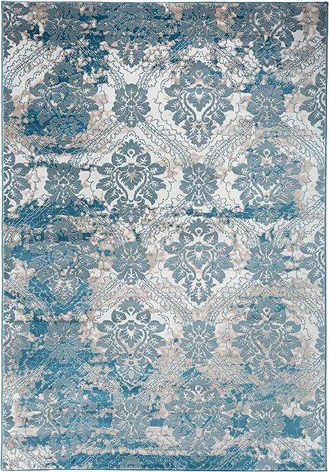 Antep Rugs Bosporus Collection Autumn Print Area Rug Dark Blue Beige Home Kitchen