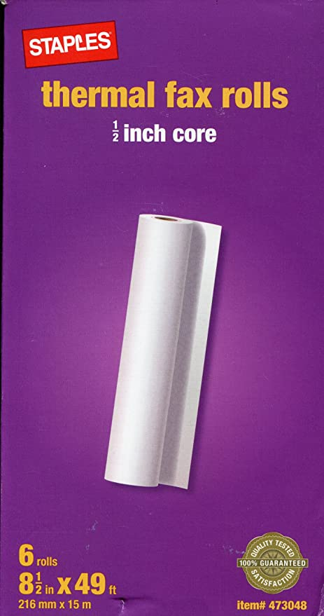 2.25 Inches x 165 Feet Roll FHS Retail Thermal Receipt Paper 6 per Pack