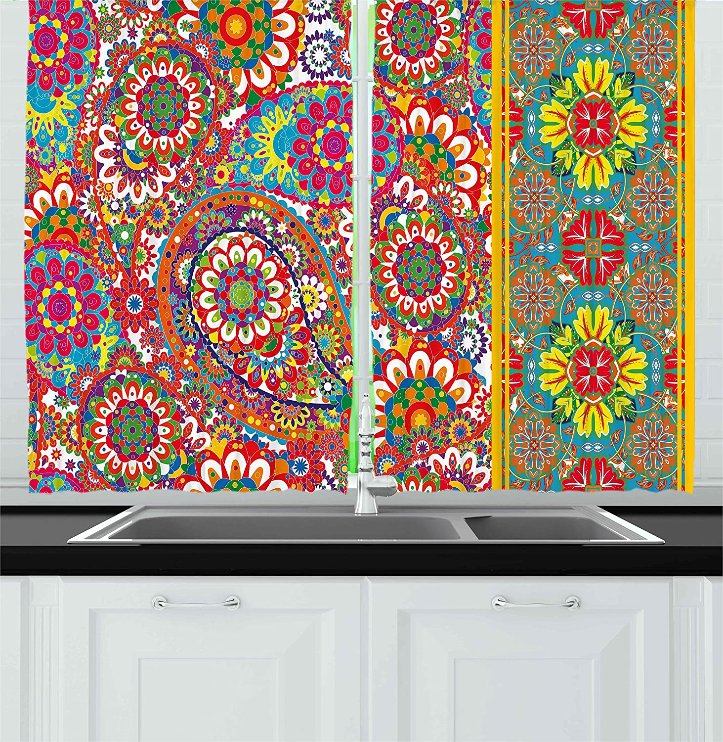Multicolor 55W X 39L Inches Ambesonne Ethnic Kitchen Curtains by Persian Paisley Leaf Oriental Embellished Middle Eastern Traditional Boho Art Print Window Drapes 2 Panels Set for Kitchen Cafe