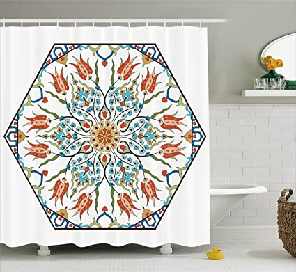 Antique Shower Curtain By Ambesonne Ottoman Turkish Floral Pattern Tulips Medieval Baroque Effect On Dated