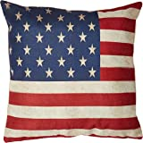 Decorbox Cotton Linen Square 18 x18-Inches US Flag Decorative Throw Pillow Case Cushion Cover