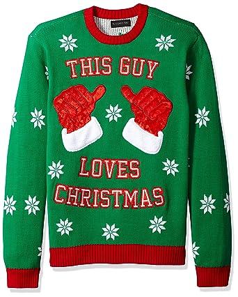 f8837593bca Blizzard Bay Men s This Guy Loves Xmas Ugly Christmas Sweater at Amazon  Men s Clothing store
