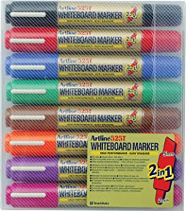 Artline 2-in-1 Whiteboard Marker Bullet Line 2.0mm Chisel Line 3.0-5.0mm Assorted Ref EK-525T [Pack of 8]
