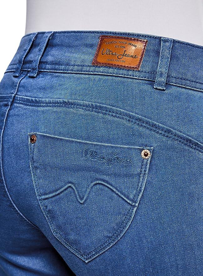 oodji Ultra Donna Jeans Skinny Push-Up con Orlo Grezzo