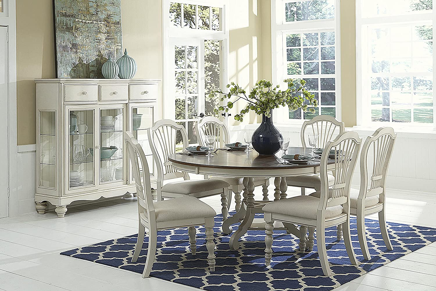 Hillsdale Furniture 7-Pc Round Dining Set in Old White