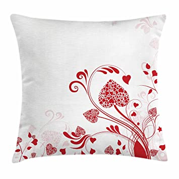 Amazon.com: Ambesonne Red Throw Pillow Cushion Cover, Floral Nature ...