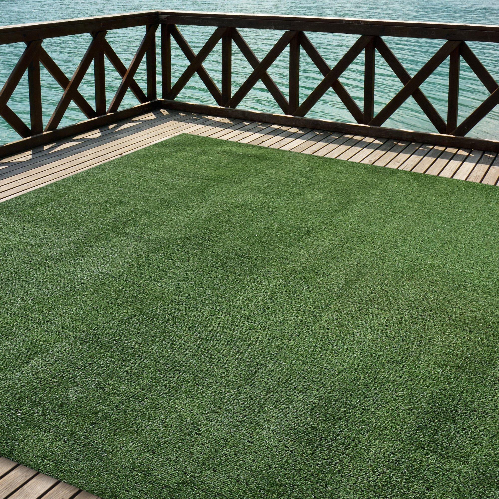 Outdoor Turf Rug Green Artificial Grass Indoor Deck Patio Carpet Mat 12u0027 X  24u0027