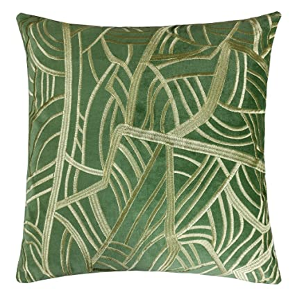 Amazon Homey Cozy Embroidery Green Velvet Throw Pillow Cover Inspiration Tropical Throw Pillow Covers