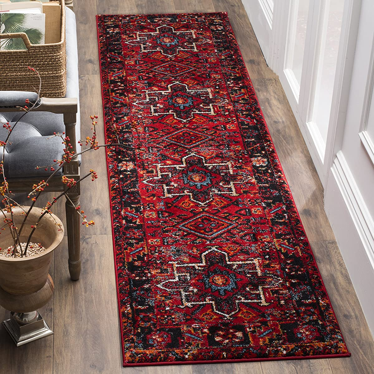 "Safavieh Vintage Hamadan Collection VTH211A Antiqued Oriental Red and Multi Runner (22"" x 8)"