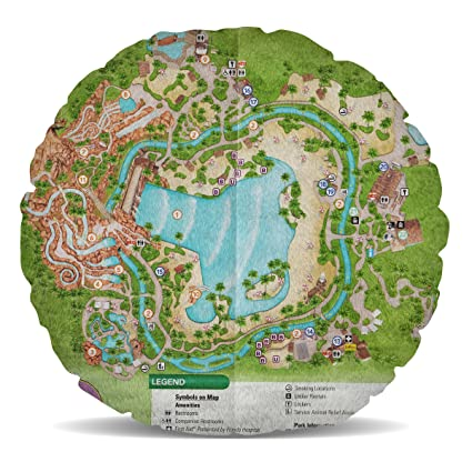 Amazon.com: Queen of Cases Typhoon Lagoon Map Fleece Cushion - Round ...