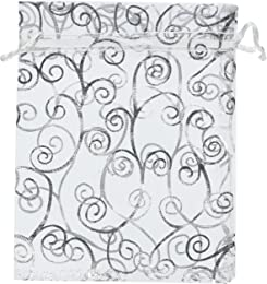 """50 Organza Gift Bags (White with Silver Details, 4.5""""x6"""")"""