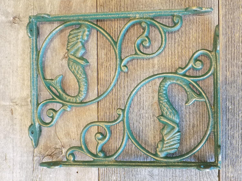 Turquoise Mermaid ONE Cast Iron Wall Shelf Bracket  Nautical Beach House Decor