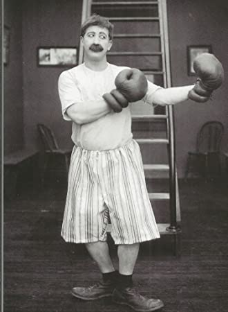 Vintage style b&w greetings card Boxing Champ Silent Movie 1920s