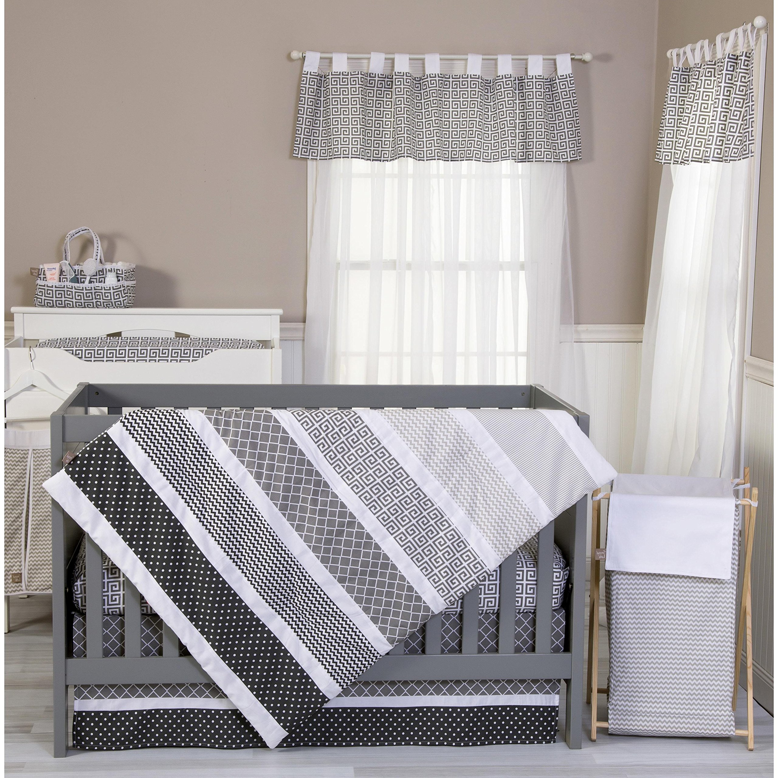 3 Piece Grey White Black Baby Colorful Crib Bedding Set, Newborn Nursery Bed Set Infant Child Diamond Patches Gray Pinstripes Chevron Stripes Polka Dot Pattern Reversible Blanket Quilt, Cotton
