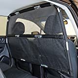 "Bushwhacker - Deluxe Dog Barrier 50"" Wide - Ideal for Smaller Cars, Trucks, and SUV's CUV's - Pet Restraint Car Backseat Divider Vehicle Gate Cargo Area Travel Trunk Mesh Net Screen Barricade"