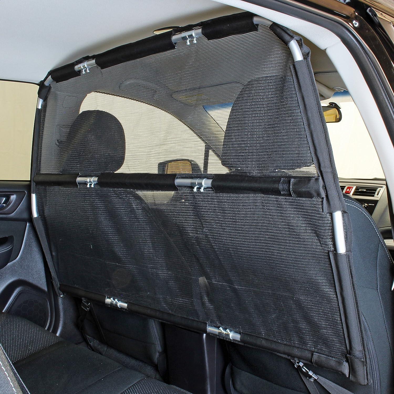 "Bushwhacker - Paws n Claws Deluxe Dog Barrier 56"" Wide - Ideal for Trucks, Large SUVs, Full Sized Sedans - Pet Restraint Car Backseat Divider Vehicle Gate Cargo Area Travel Trunk Mesh Net Screen"