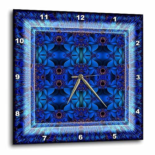 3dRose Fractals Art Blue Glowing psychedellic Energy-Wall Clock, 13-inch DPP_42575_2