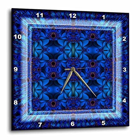 3dRose Fractals Art Blue Glowing psychedellic Energy-Wall Clock, 13-inch DPP_42575_2