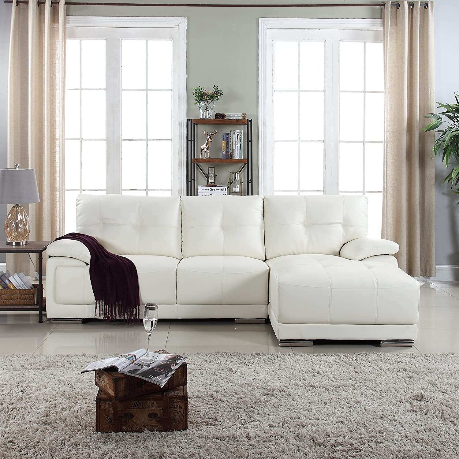 Amazon Classic Tufted Faux Leather Sectional Living Room Sofa