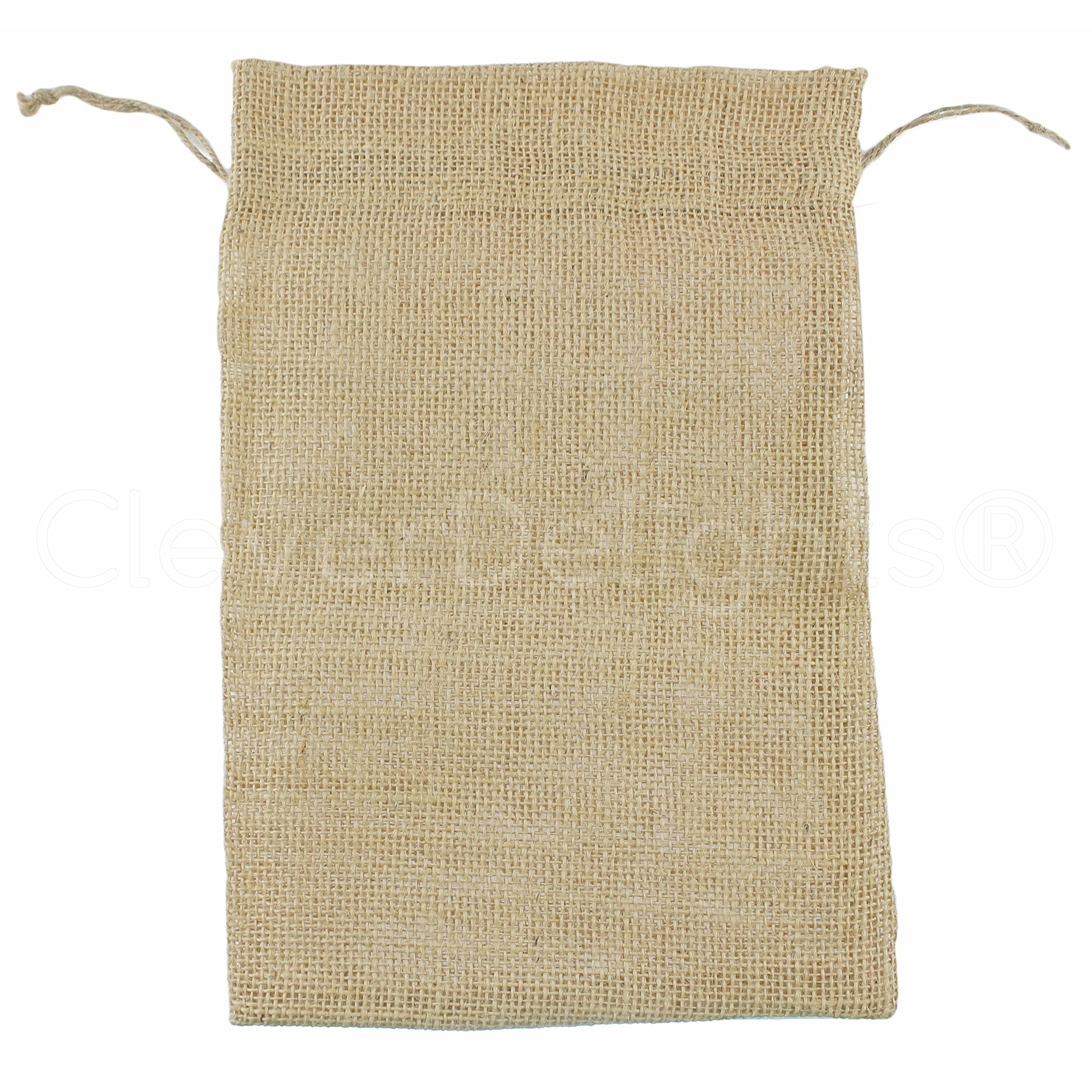 CleverDelights 8'' x 12'' Burlap Bags with Natural Jute Drawstring - 5 Pack - Burlap Pouch Sack Favor Bag for Showers Weddings Parties and Receptions - 8x12 inch by CleverDelights (Image #1)