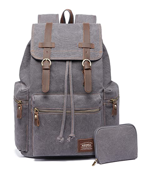 e5b00bf8ff98 Image Unavailable. Image not available for. Color  KAUKKO Canvas Vintage Backpack  Casual Backpack School Leather ...