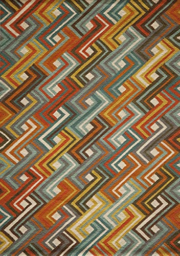 Momeni Rugs Geo Collection, Hand Hooked Contemporary Area Rug, 7 6 x 9 6 , Multicolor