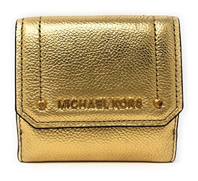8ebec60af359f1 Amazon.com: Michael Kors Hayes Medium Trifold Coin Case Leather Wallet in  Gold: AAfashiondistrict
