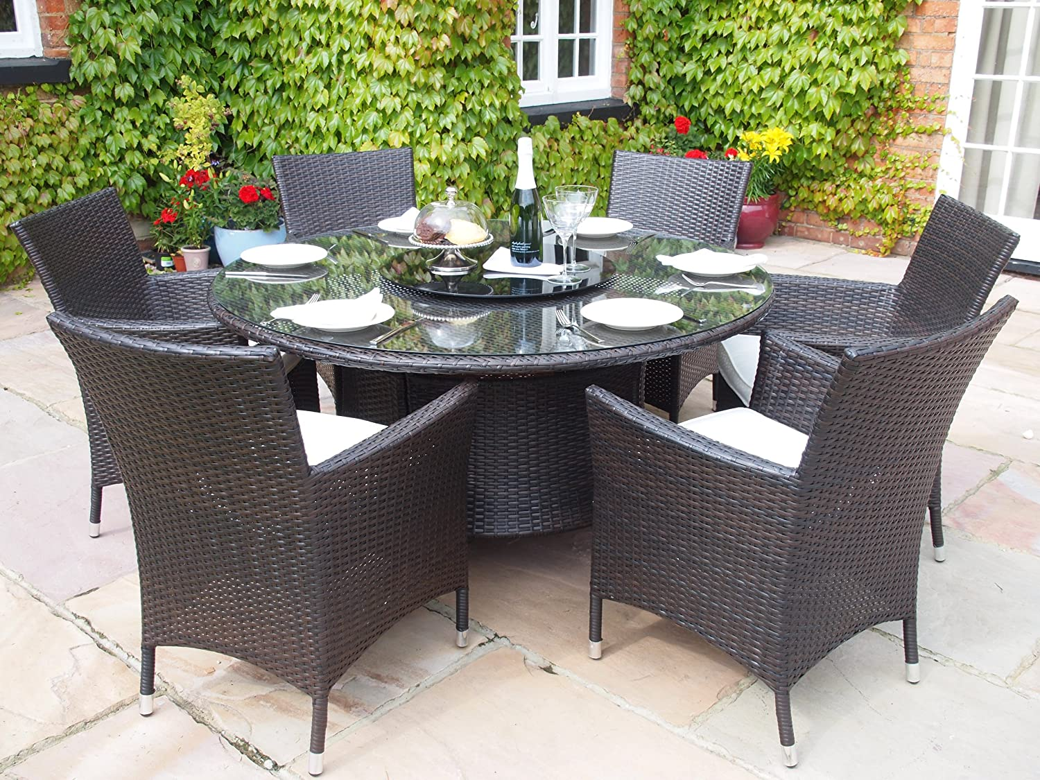 Sidney Grey Rattan Garden Or Conservatory Round Dining Table And 6 Chairs  Furniture Set: Amazon.co.uk: Garden U0026 Outdoors