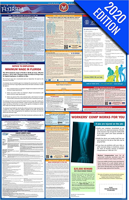 FL Labor Law Poster, 2020 Edition - State, Federal and OSHA Compliant Laminated Poster (Florida, English)