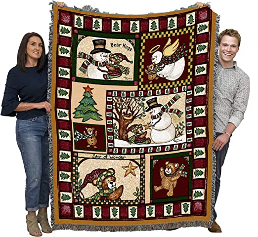 Woods Plaid Woven Tapestry Throw Blanket with Fringe Cotton USA 72x54 Pure Country Weavers