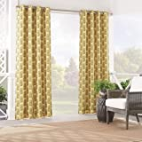 """WAVERLY Sun n' Shade Indoor/Outdoor Curtains for Patio - Pineapple Grove 52"""" x 84"""" Thermal Insulated Single Panel Grommet Top Light Blocking Water Resistant Curtain Shade for Backyard, Natural"""