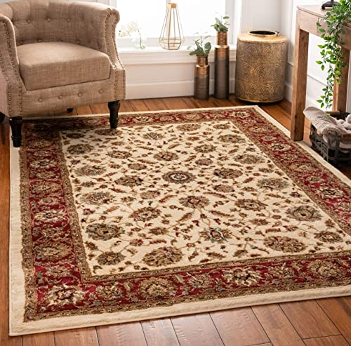 Well Woven Persian Oriental Area Rug Ivory 8×10 8×11 7'10″ x 9'10″