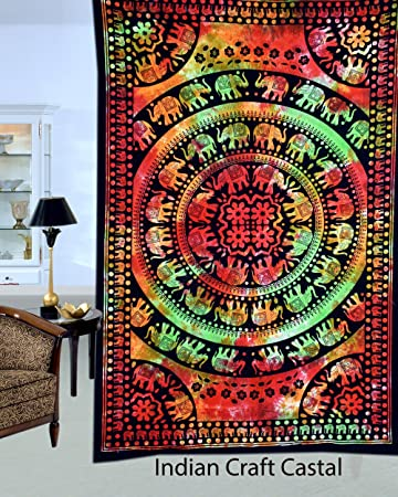 indian craft castle multi color elephant tye dye bohemian psychedelic hippie mandala tapestry wall hanging
