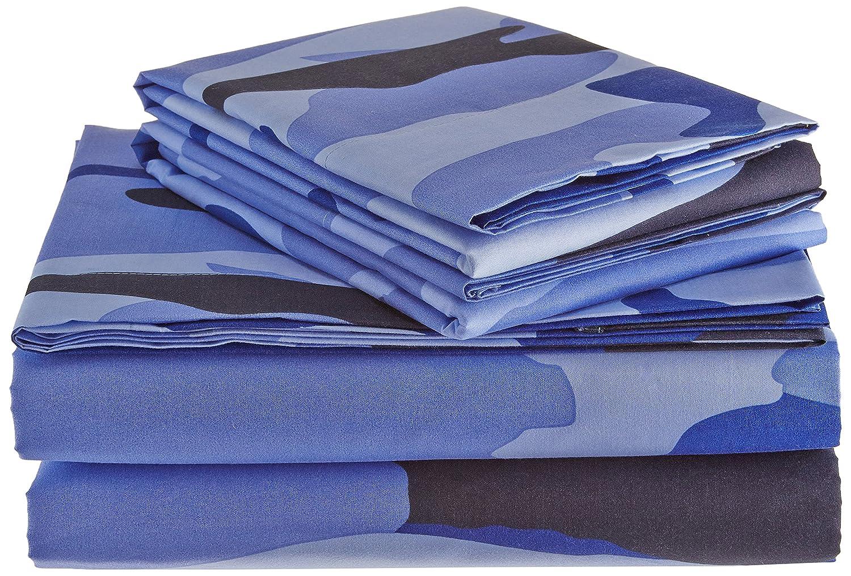 Clara Clark Premier 1800 Collection Camouflage Printed Design Bed Sheet Set, Queen, Blue Vend_camo18_q-blue