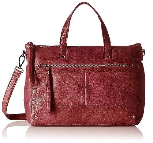 PIECES - Pcnara Leather Bag, Carteras de mano con asa Mujer, Rot (Port