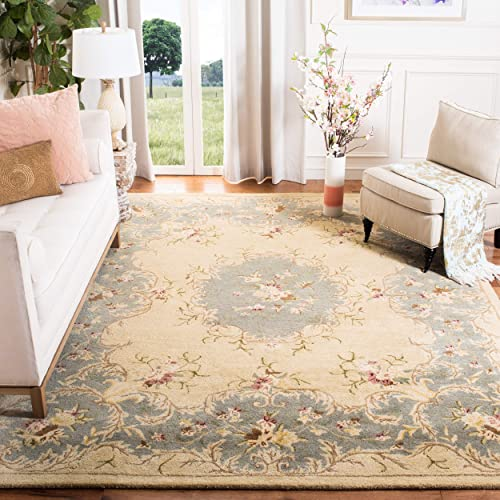 Safavieh Bergama Collection BRG166A Handmade Ivory and Light Blue Premium Wool Area Rug 9 6 x 13 6