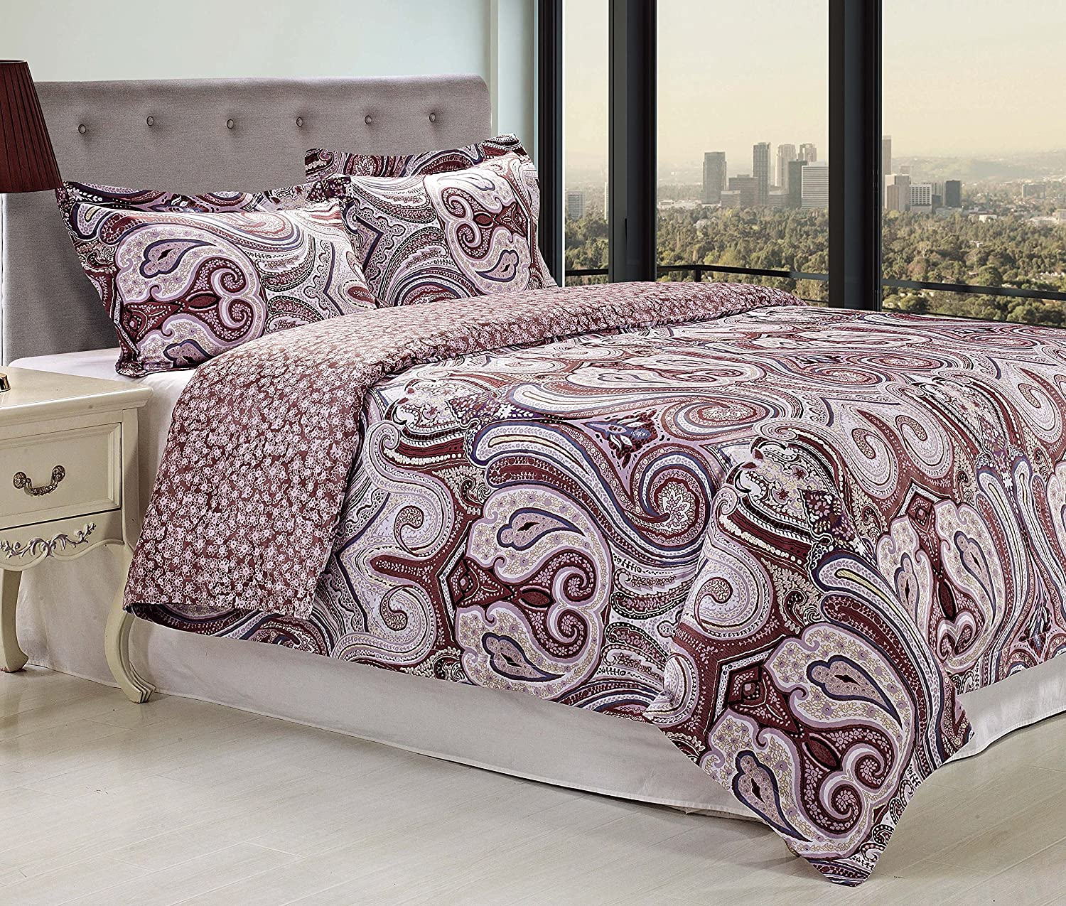 Superior 300 Thread Count Waterloo Duvet Cover Set, Full/Queen