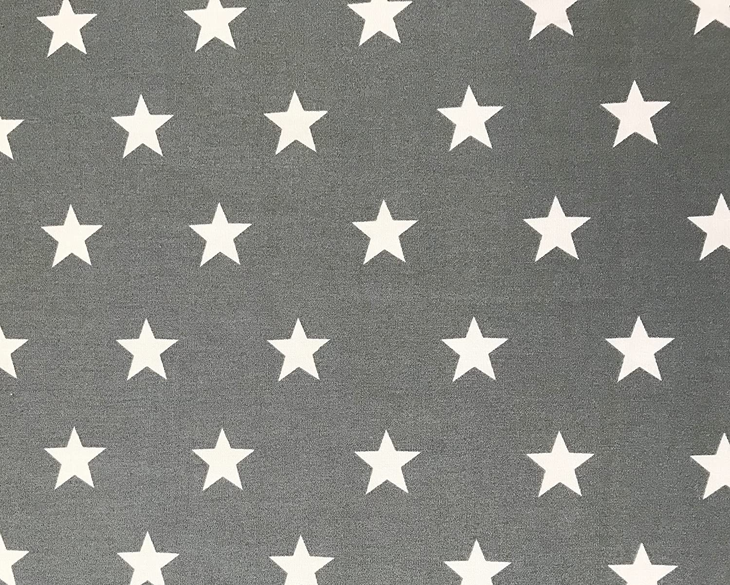100/% Cotton Fabric Oddies Textile Rose /& Hubble White Stars on Grey Background 112cm wide