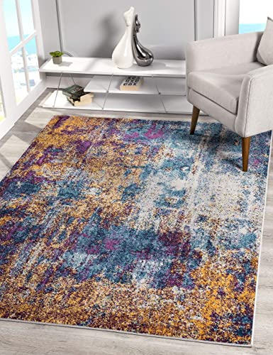 Princess Collection Abstract Design Area Rug, 9 10 x 13 1 , 40303 Blue Dark Blue
