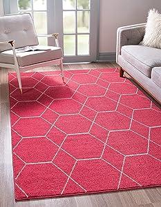 Unique Loom Trellis Frieze Collection Lattice Moroccan Geometric Modern Pink Area Rug (7' 0 x 10' 0)