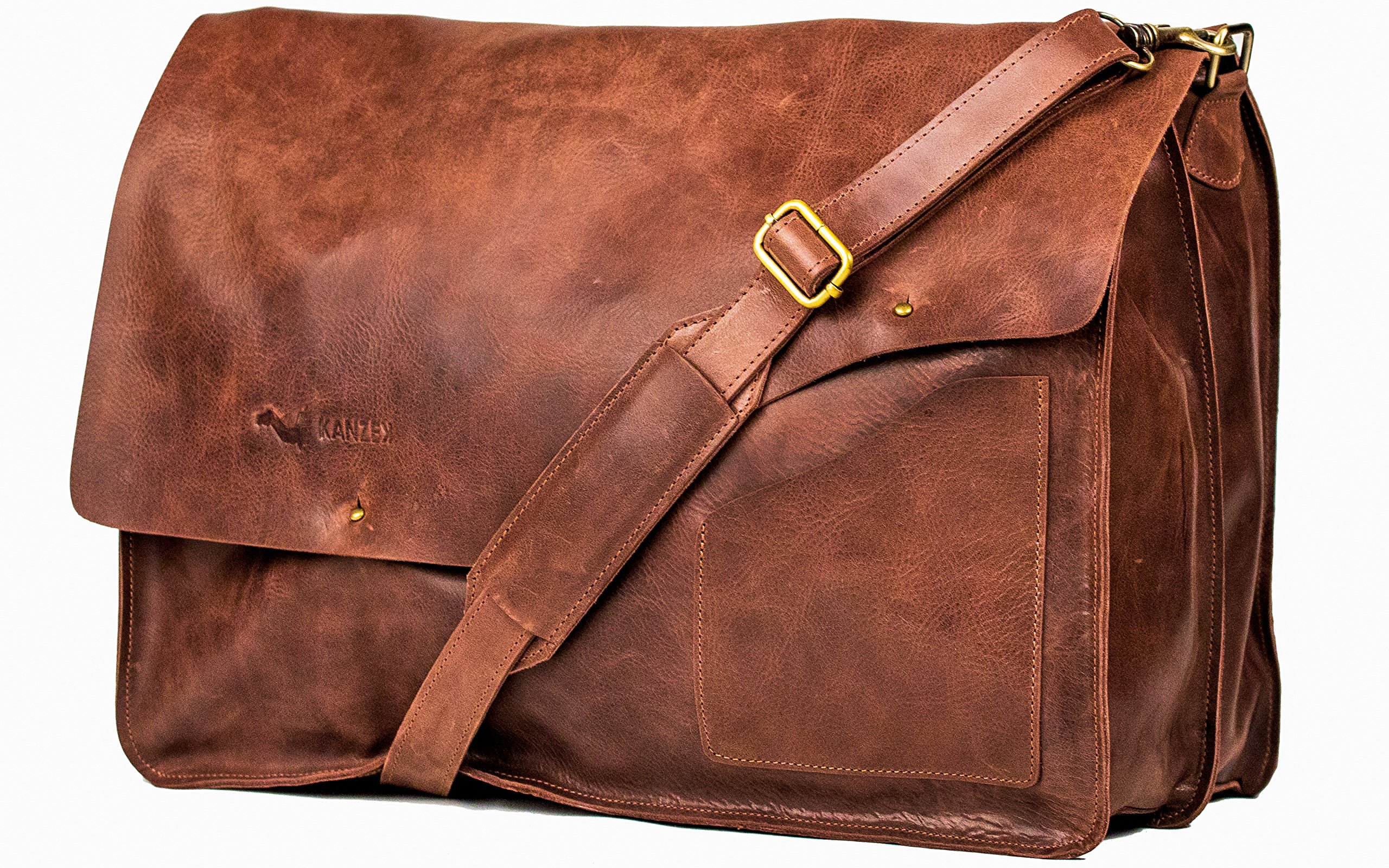 KANZEK Distressed Leather Messenger Bag/Satchel for 18'' Laptops in Vintage Brown
