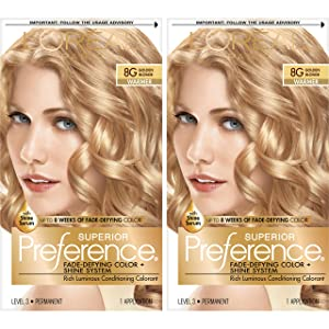 L'Oreal Paris Superior Preference Fade-Defying + Shine Permanent Hair Color, 8G Golden Blonde, 2 COUNT Hair Dye