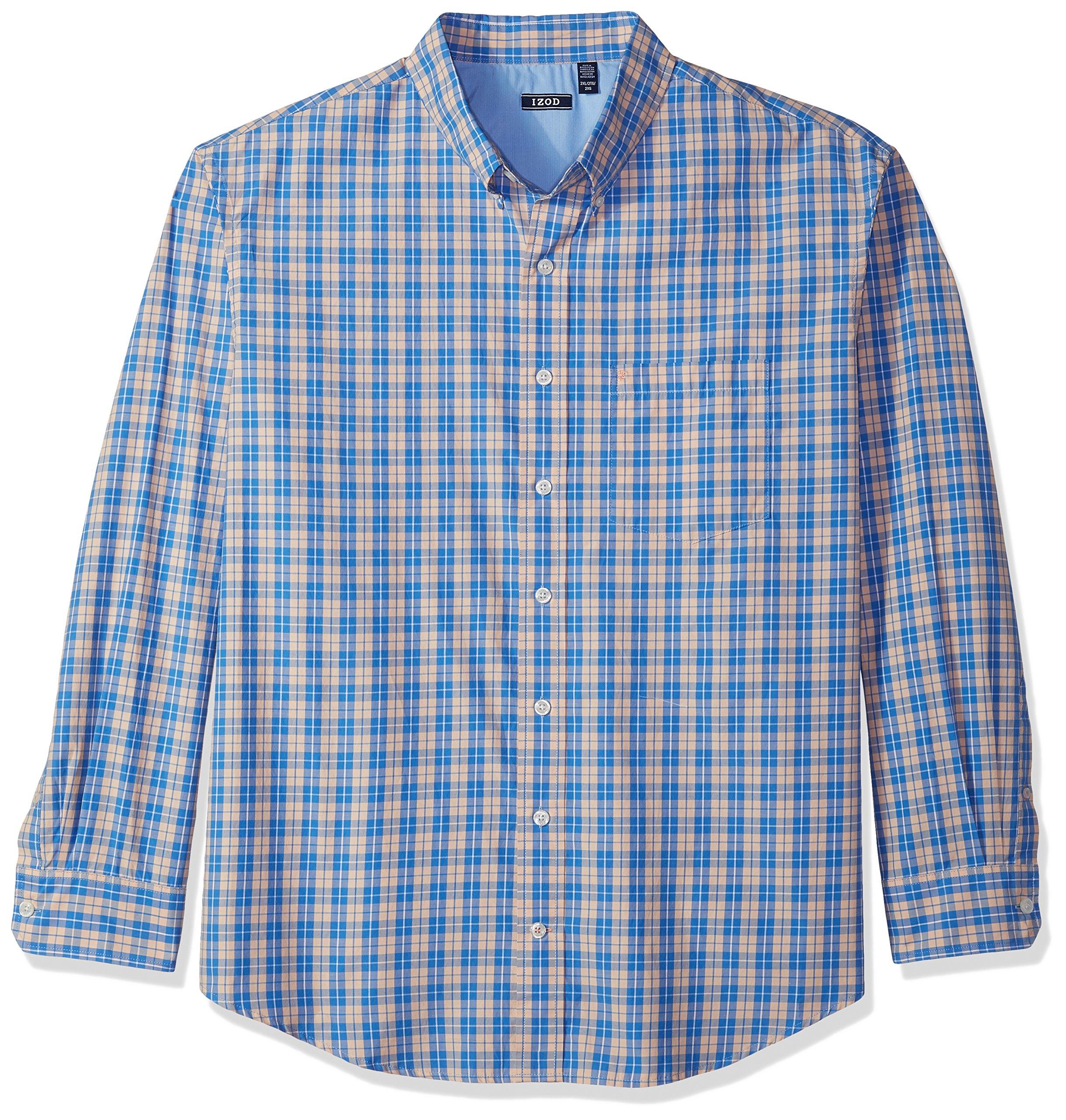 IZOD Men's Big and Tall Saltwater Breeze Plaid Long Sleeve Shirt, Peach Parfait, 3X-Large