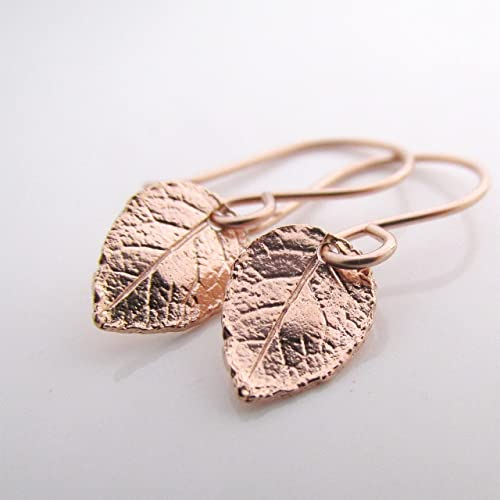 Amazoncom Rose Gold Leaf Earrings Rose Gold Jewelry Small