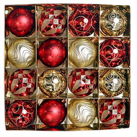 Christbaumkugeln Amazon.Valery Madelyn Weihnachtskugeln 16 Stucke 8cm Kunststoff Christbaumkugeln Set Mit Aufhanger Weihnachtsbaumschmuck Fur Weihnachten Dekoration Thema Rot