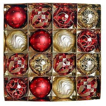 Christbaumkugeln Set Rot.Valery Madelyn 16 Stücke 8cm Weihnachtskugeln Kunststoff Luxus Rot Und Gold Thema Christbaumkugeln Set Mit Aufhänger Weihnachtsbaumschmuck Für