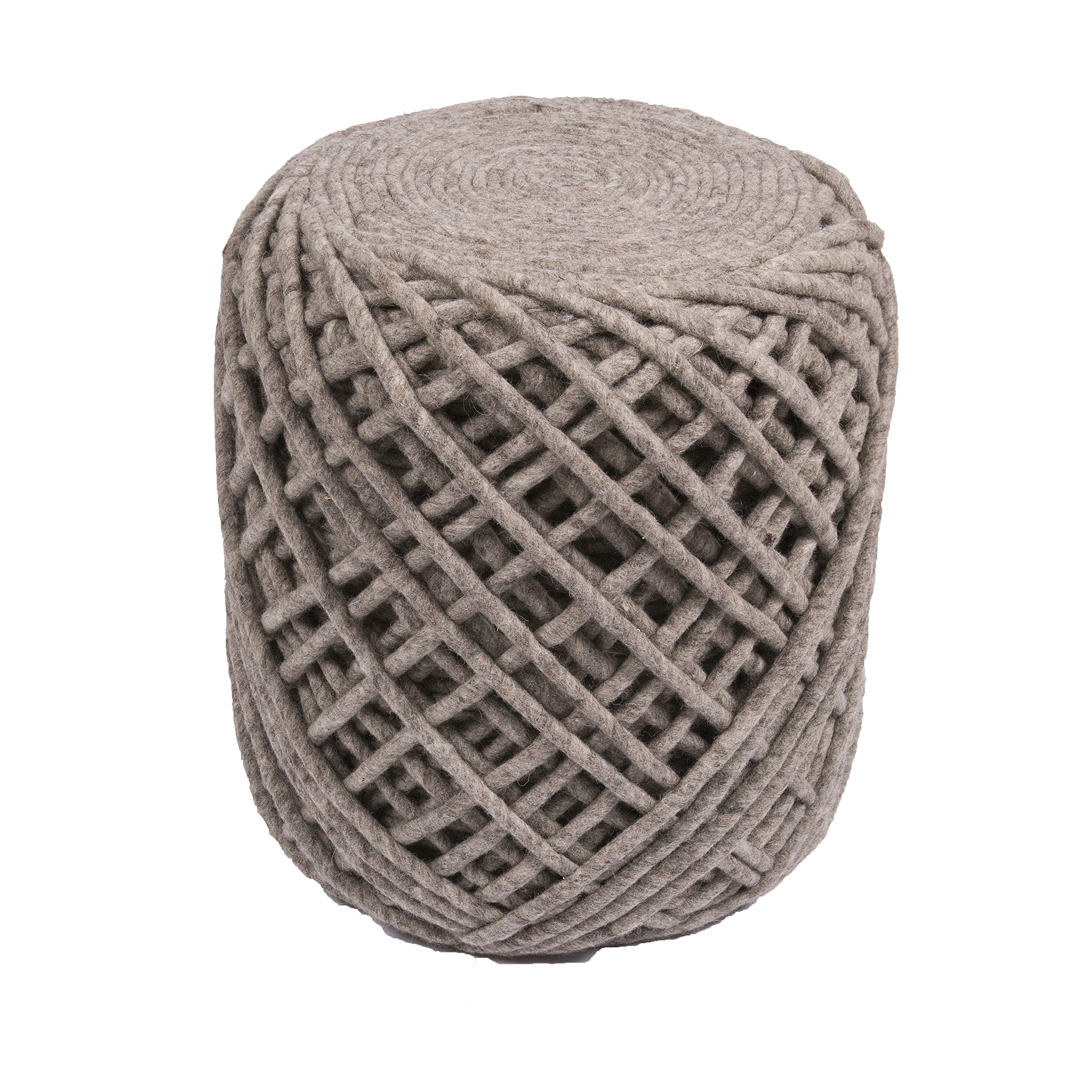 Jaipur Solid Pattern Gray Wool Pouf, 16-Inch x 18-Inch x 18-Inch, Ash Guna
