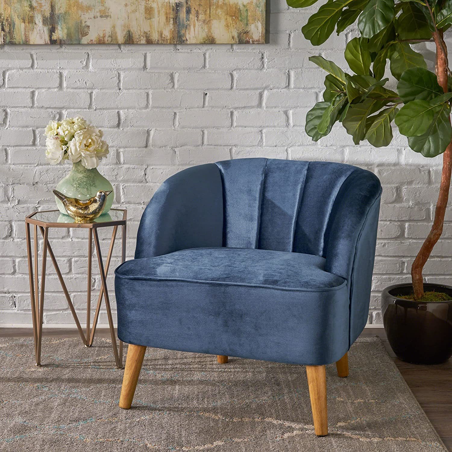 Christopher Knight Home Scarlett Modern Cobalt Velvet Club Chair